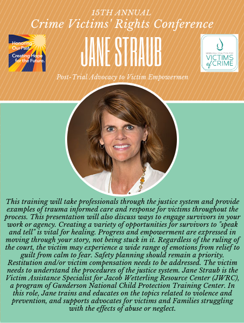 2019 NCVC Crime Victims Rights Conference Spotlight_Jane Straub